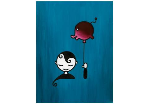 Boy with Balloon Illustration