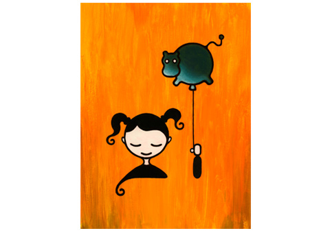 Girl with Balloon Illustration