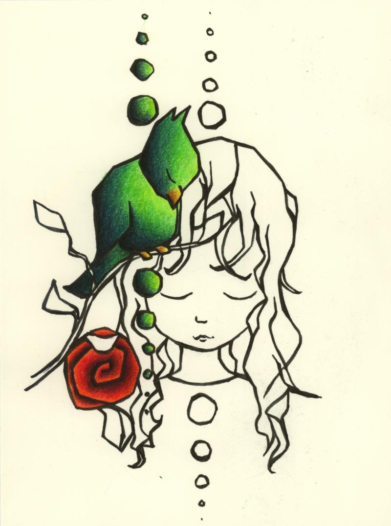 Girl Rose Bird